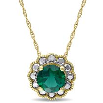 1 CT Created Emerald Pendant 10KY