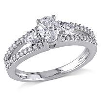 1 CT Multi-shape Diamonds Engagement Ring 14KW