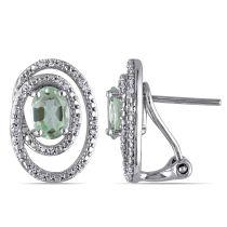 Green Amethyst And Diamond  Earrings Silver