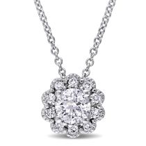 Laura Ashley 1/2 CT TW Diamond Pendant With Chain in 10K White Gold