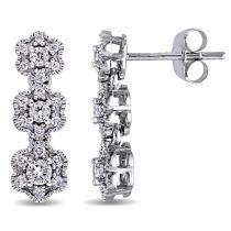 Laura Ashley 1/2 CT TW Diamond Stud Earrings in 10K White Gold