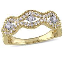 Laura Ashley 1/2 CT TW Diamond Fashion Ring in 10K White Yellow Gold