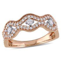 Laura Ashley 1/2 CT TW Diamond Fashion Ring in 10K White Pink Gold