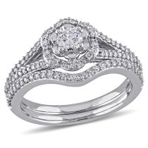 Laura Ashley 5/8  CT  Diamond TW Bridal set rings with milgrain detail ring 10k White Gold