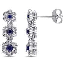 Laura Ashley 1/5  CT Diamond TW & 1/3 CT TGW Created Blue Sapphire 3-drop Stud Earrings in 10k White Gold
