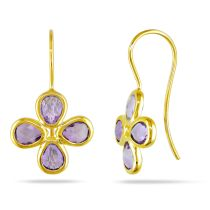 Catherine Catherine Malandrino 3 5/8 CT TGW Amethyst Daisy Earrings in Yellow Plated Sterling Silver