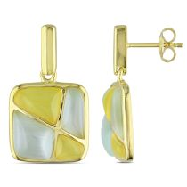 Catherine Catherine Malandrino Light Green and Yellow Simulated Cat Eye Geometric Earrings in Yellow Plated Sterling Silver