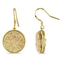 Catherine Catherine Malandrino Round Golden Color Druzy Gemstone Earrings in Yellow Plated Sterling Silver