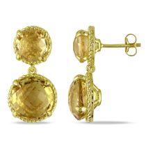 Catherine Catherine Malandrino 16 1/3 CT TGW Citrine Ear Pin Earrings Yellow Silver