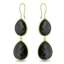 Catherine Catherine Malandrino 35 CT TGW Double Pear-shape Double Checkerboard Onyx Earrings in 22k Yellow Gold Plated Sterling Silver