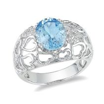 Catherine Catherine Malandrino 3 CT TGW Oval Cut Blue Topaz and Diamond Filigree Heart Ring in Sterling Silver