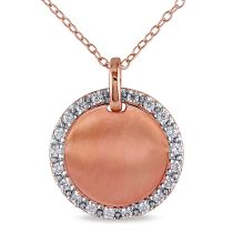 Catherine Catherine Malandrino Cubic Zirconia Halo Pendant with Chain in Pink Plated Sterling Silver