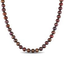 Catherine Catherine Malandrino 8 - 9 MM Brown Freshwater Cultured Pearl Strand with Sterling Silver Ball Clasp