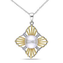 Catherine Catherine Malandrino 10.5 - 11 MM White Freshwater Cultured Pearl and Cubic Zirconia Quatrefoil Pendant with Chain in Sterling Silver with 18k Gold and White Rhodium