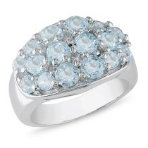 Catherine Catherine Malandrino 3 1/3 CT TGW Blue Topaz Pave Bezel-set Ring in Sterling Silver