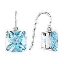 Blue Topaz - Sky And Diamond Earrings 10KW