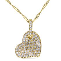 1/4 CT Diamond TW Heart Pendant With Chain 14KY