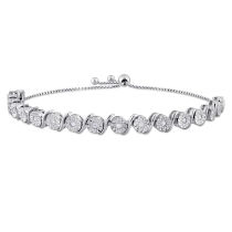 1/2 CT Diamond TW Bracelet Silver