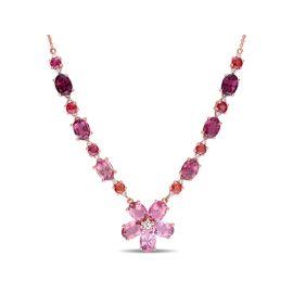 Pink Tourmaline Orange Sapphire And Diamond Necklace 14KP
