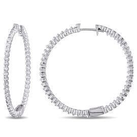 1 2/5ct TDW Diamond Hoop Earrings 14KW