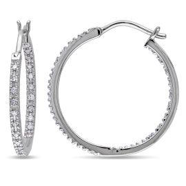 1/4 CT Diamond TW Hoop Earrings 10KW