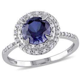 Created Blue Sapphire And Diamond Fashion Ring 10kw