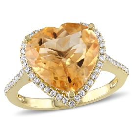 Citrine And Diamond Fashion Ring 14KY