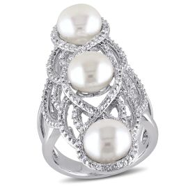 1/5 CT Diamond TW 8 - 8.5 MM White Freshwater Cultured Pearl Fashion Ring Silver GH I2;I3