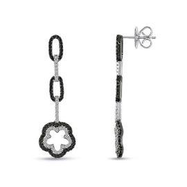 1 1/3ct TDW White & Black Diamond Flower Earrings 18KW
