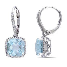 Diamond And Sky Blue Topaz Earrings Silver