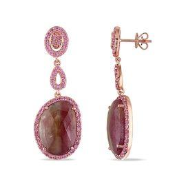 Pink Sapphire Dangle Earrings 14KP