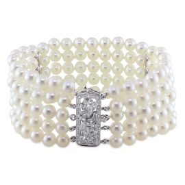 5-Strand Cultured FW Pearl And Diamond Bracelet 14KW