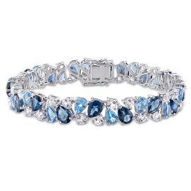 33 1/3 CT Blue Topaz Created White Sapphire Bracelet Silver