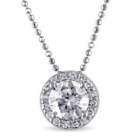 1.17CT Diamond Solitaire Pendant 14KW