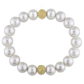 FW White Pearl & Yellow Sapphire Elastic Bracelet