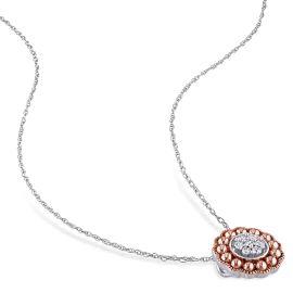 Laura Ashley 1/10 CT Diamond TW Floral Pendant in 10K White Gold