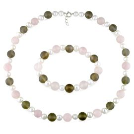 Catherine Catherine Malandrino 7 - 8 MM Freshwater Cultured Pearl, Rose Quartz, Green and Grey Agate Strand and Stretch Bracelet 2-Piece Set