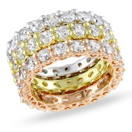 Catherine Catherine Malandrino 10 4/5 CT TGW Cubic Zirconia Eternity Stacking Ring Set in 3-Tone Pink, Yellow, and White Sterling Silver