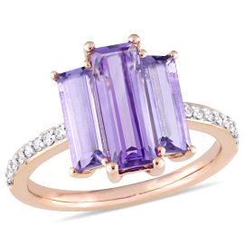 Diamond And Amethyst, Rose de France Fashion Ring 14KP