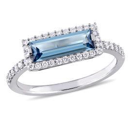 Diamond And London Blue Topaz Fashion Ring 14KW