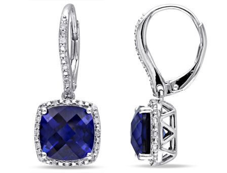 Created Blue Sapphire And Diamond Earrings Silver