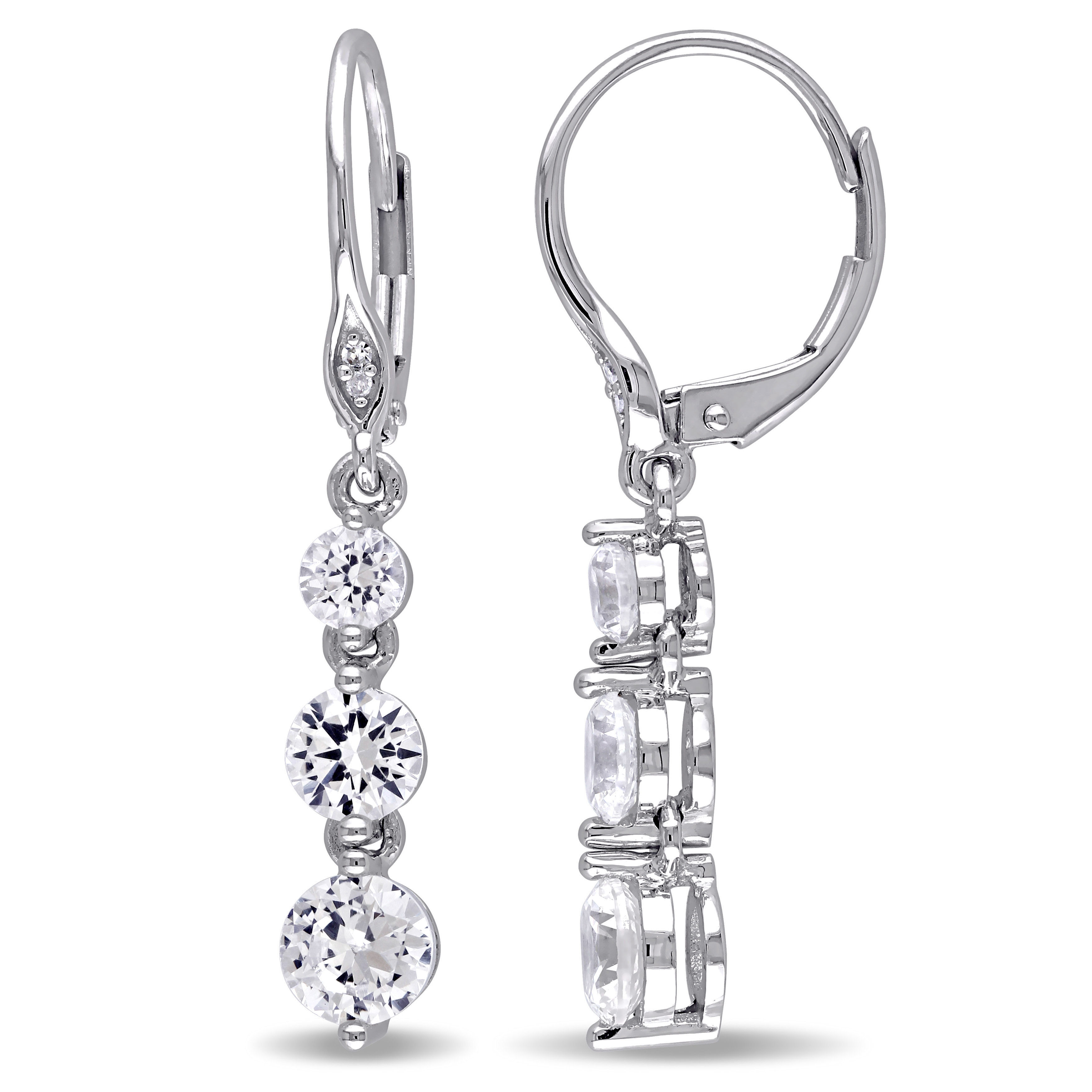 Created White Sapphire And Diamond Earrings 10KW