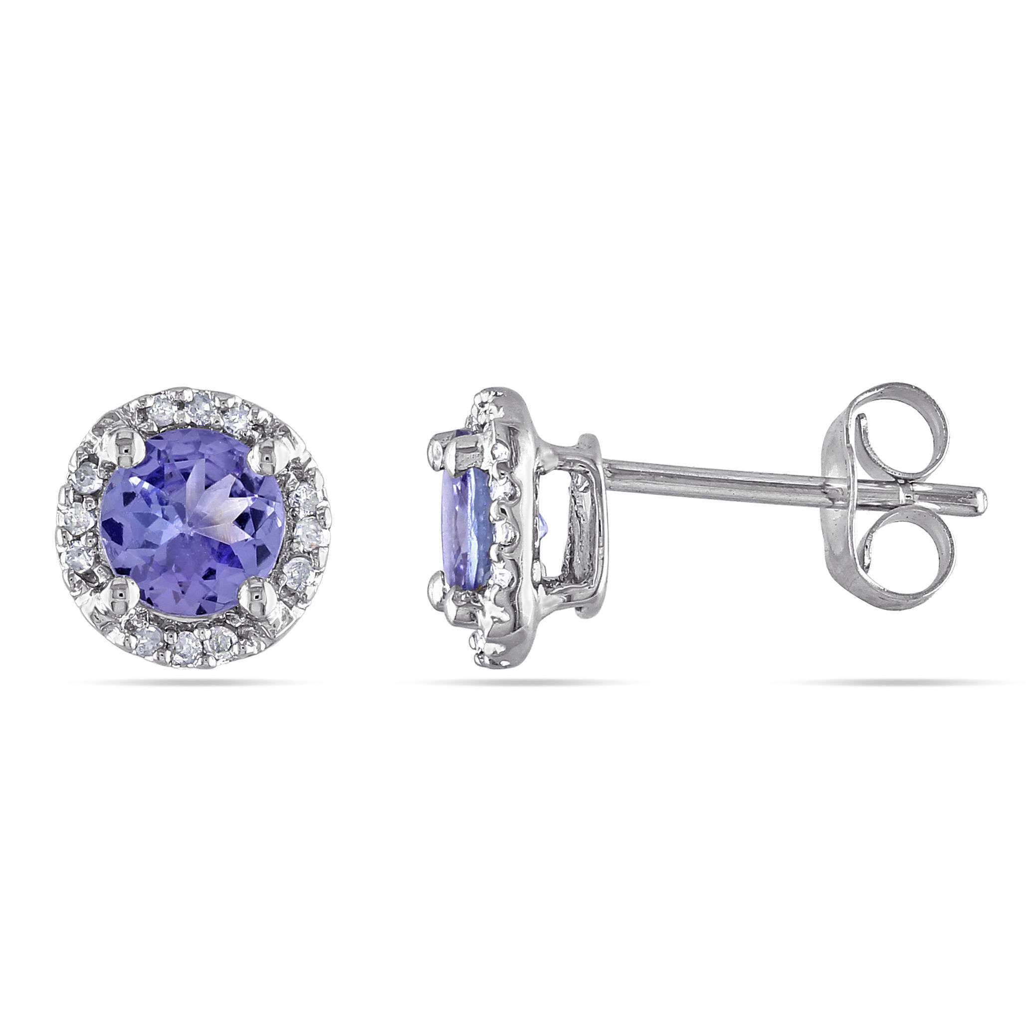 Tanzanite And Diamond Stud Earrings 10KW