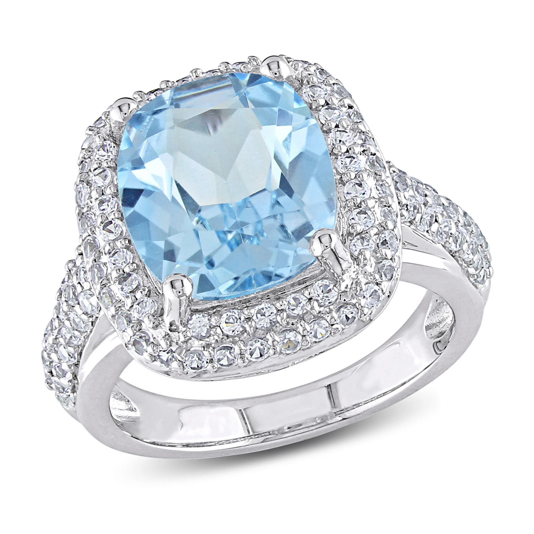 7 1/4 CT TGW Sky Blue Topaz Created White Sapphire Ring Silver