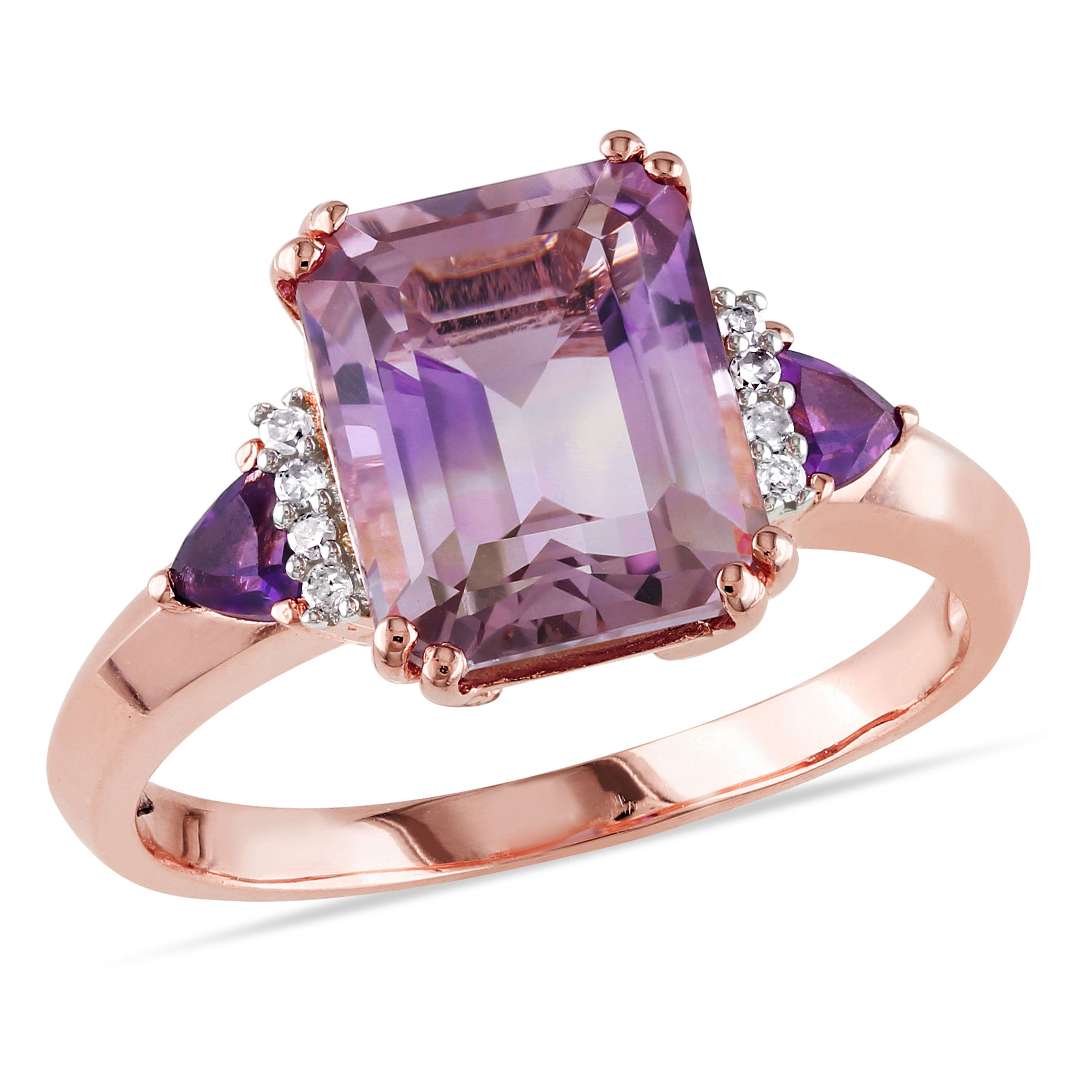 Ametrine Amethyst And Diamond Ring Pink Silver