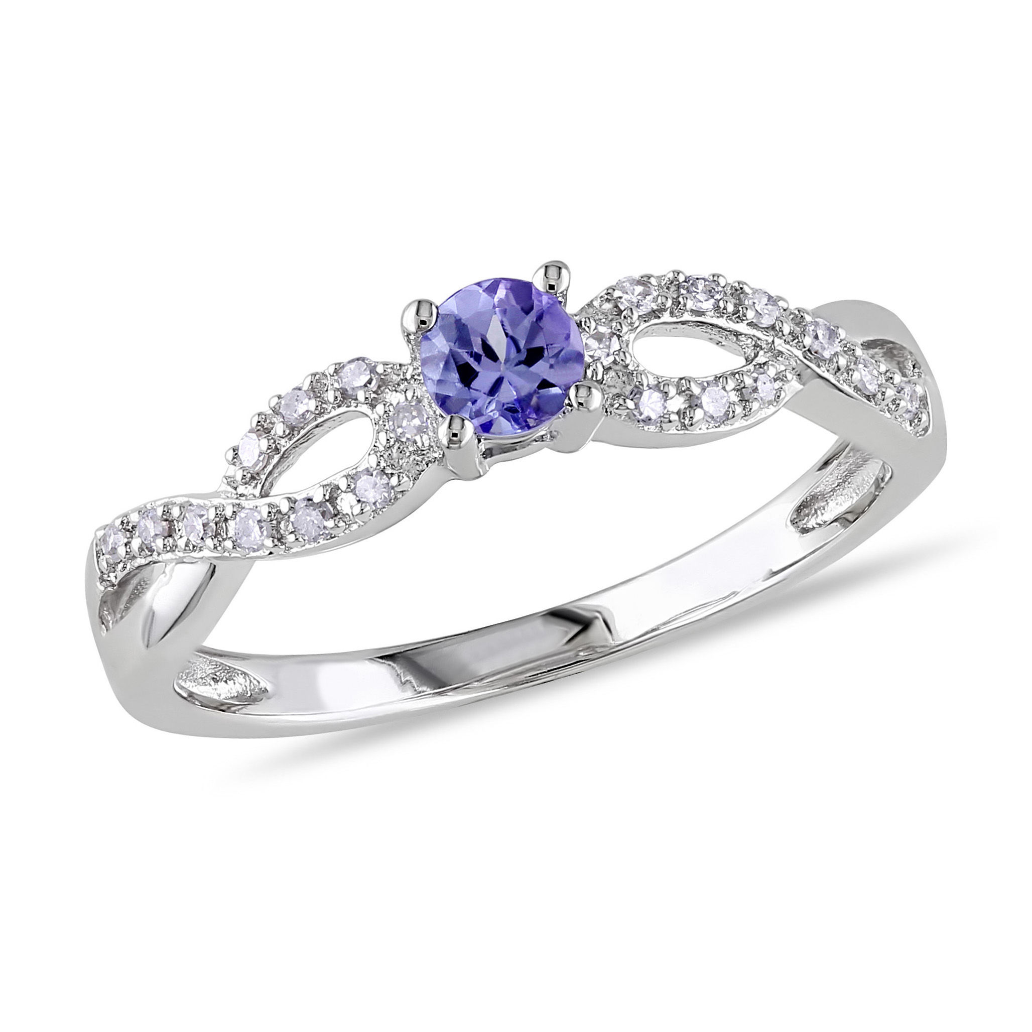 1/10 CT Diamond TW And 1/6 CT TGW Tanzanite Ring Silver