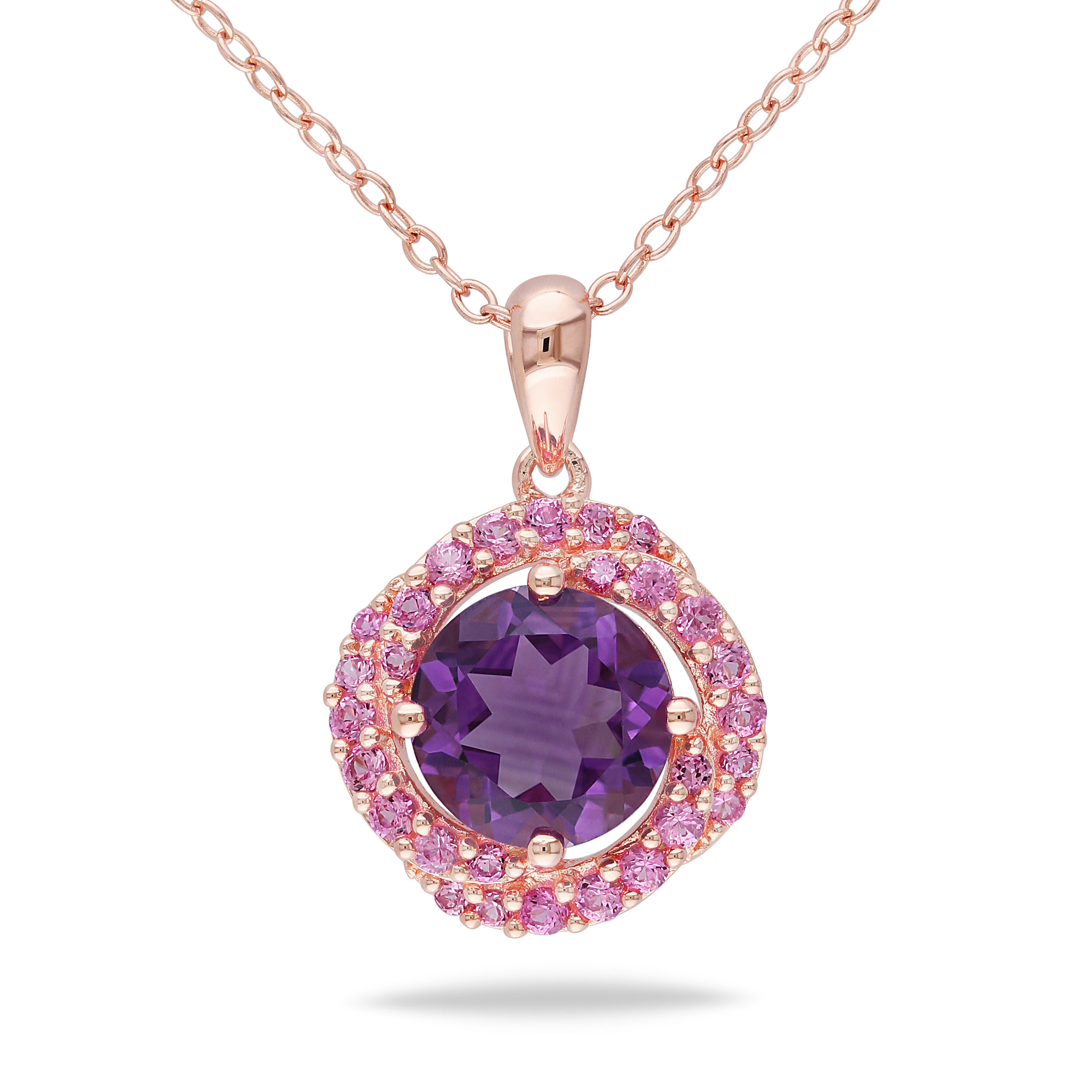 Amethyst And Created Pink Sapphire Pendant Pink Silver
