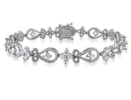 1/2 CT Diamond TW And 3 3/4 CT TGW White Sapphire Bracelet 10k White Gold GH I1 Length (inches): 7.25
