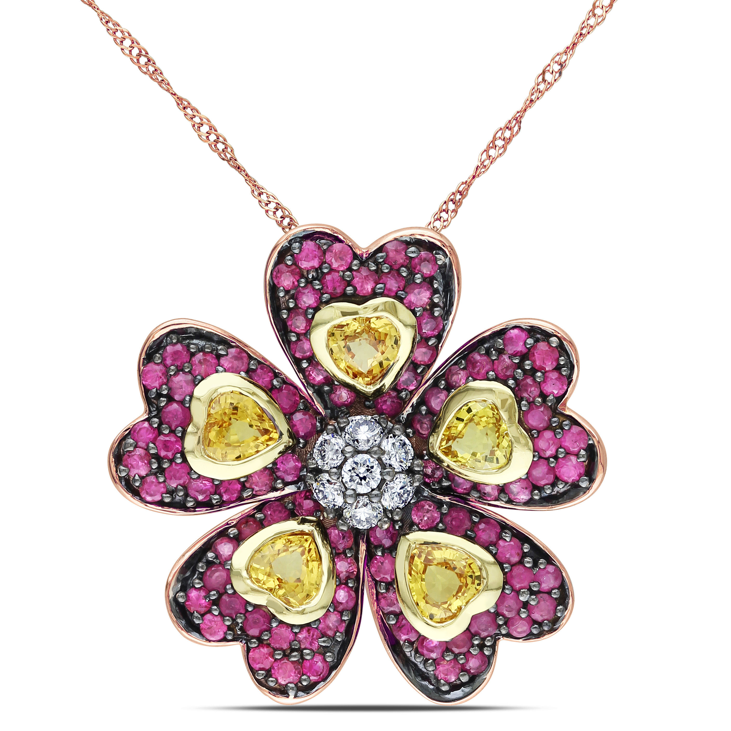 Yellow And Pink Sapphire And Diamond Flower Pendant 14k Yellow Pink Gold Black Rhodium Plated