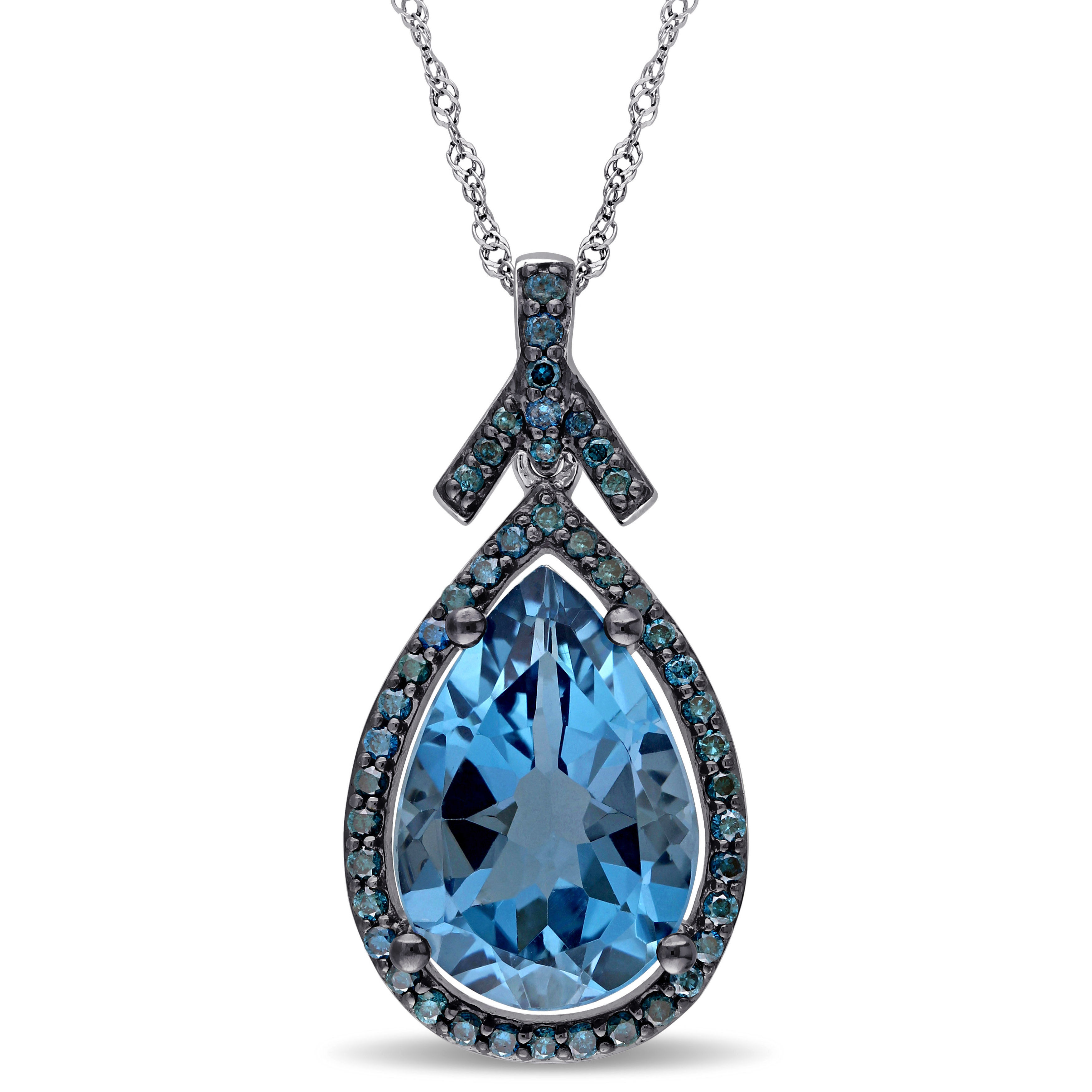 Blue Diamond And London Blue Topaz Pendant 14KW